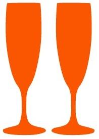 orange drinking glasses